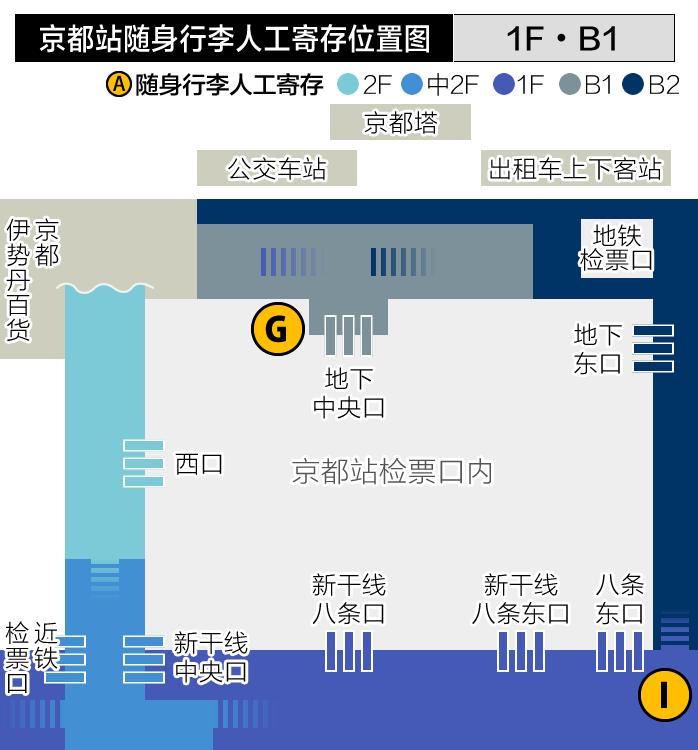 京都站随身行李人工寄存位置图
