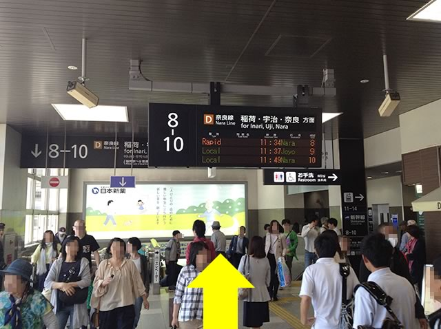 奈良線は、京都駅8番〜10番線