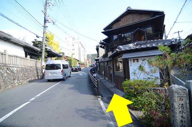 JR京都站到清水寺最快路线实景示意图12岔路