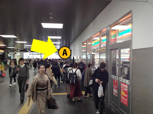 JR京都駅西口から一番近いコインロッカーへの道順03