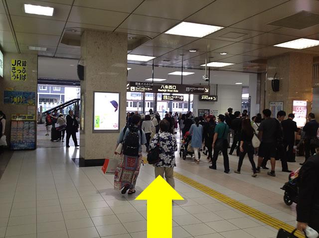 JR京都駅新幹線中央口から1番目に近いコインロッカーへの道順02
