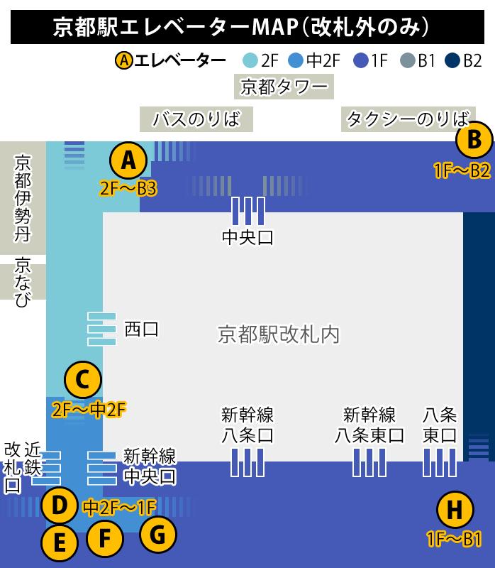 JR京都駅エレベーターmap(改札外のみ)