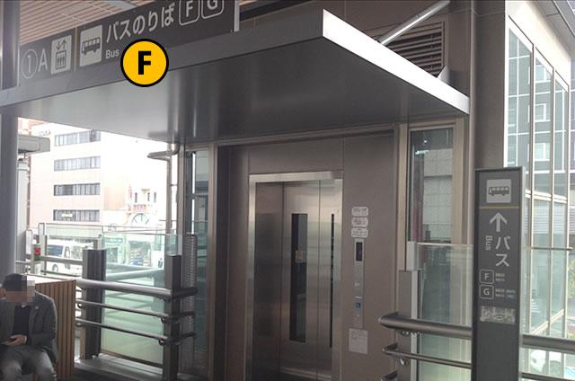 JR京都駅八条口 バスのりば行きエレベーター中2F