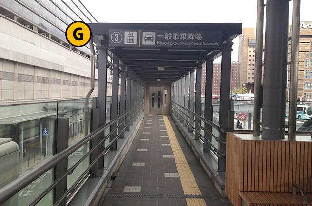 JR京都駅八条口 一般車乗降場行きエレベーター中2F
