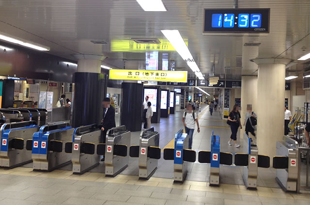 JR京都駅地下東口改札外から
