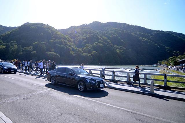 京都嵐山渡月橋からの景色