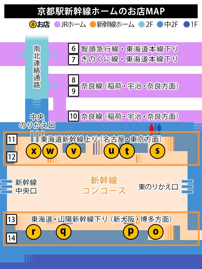 JR京都駅新幹線ホームのお店map