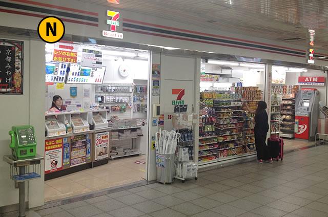 JR京都駅構内地下連絡通路のセブンイレブン ハートイン