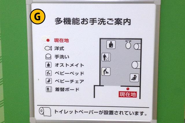 JR京都駅八条東口改札付近の多機能トイレ案内図