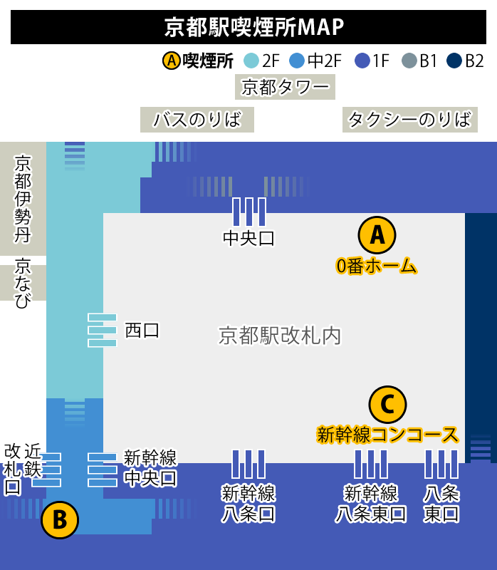 JR京都駅の喫煙所map